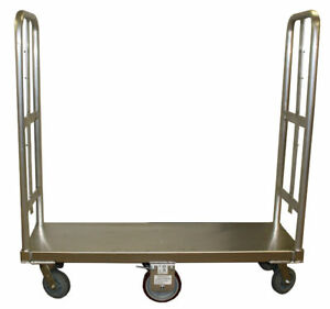 Aluminum Bulk Delivery Cart 2 handles Warehouse 6 wheeler U boat A W 8 Casters