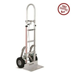 Assembled Aluminum Hand Dollie 60 Tall 18 Nose 10 Flat Free Tire And Brake