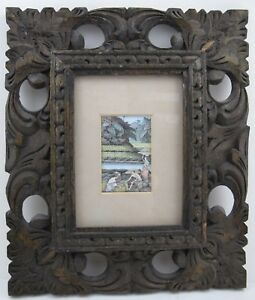 Vintage Painting Bali Indonesia Watercolor Miniature Carved Wood Frame
