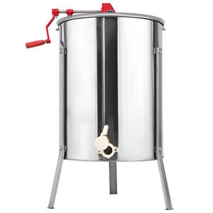 New Stainless Steel Large 4 Frame Honey Extractor Manual Beekeeping Equipment