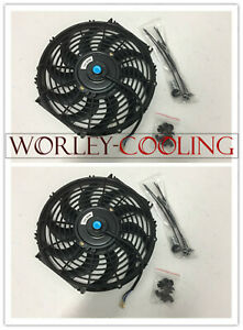 2 Universal 12 Inch Universal Electric Radiator Fans New With Mounting Kits