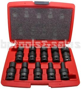 10pc 1 2 Dr Sae Shallow Universal Impact Ball Swivel Socket Set