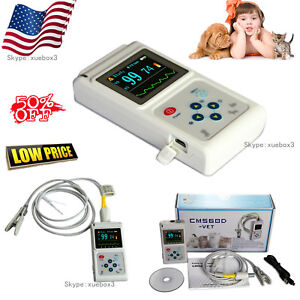 Veterinary Pulse Oximeter Spo2 Heart Rate Monitor Vet Ear tongue Probe us Seller