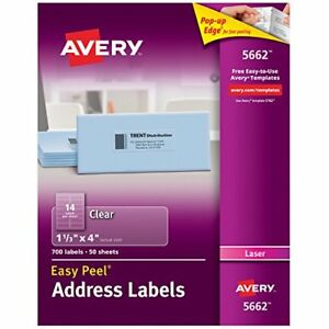 Avery Matte Frosted Clear Address Labels For Laser Printers 1 1 3 X 4 700 La
