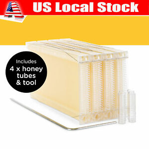 4 Pcs Newest Edition Auto Honey Bee Hive Beehive Frames free Beekeeping Gloves