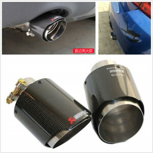 Glossy Real Carbon Fiber Car Exhaust Muffler Pipe Tips 63mm Inlet 114mm Outlet