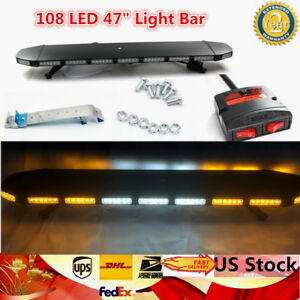 108 Led 47 Strobe Light Bar Beacon Warning Truck Wrecker Response Amber White