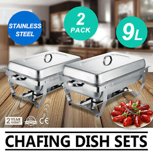 2 Set Chafing Dish Stainless Steel 9 Quart Full Size Chafer Catering Food Pan