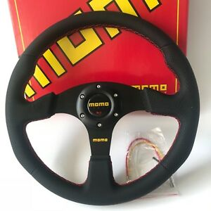 340mm Black Leather Red Stitch Steering Wheel Flat Momo Racing Omp Drift Rally