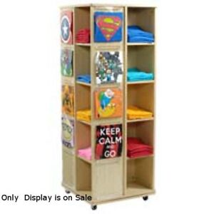 4 Side Revolving T Shirt Display With Casters In Maple 23 1 2 w X 23 1 2 d X 63