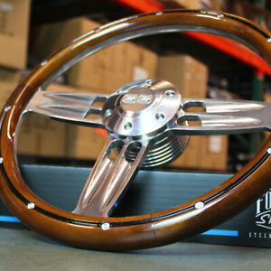 14 Polished Aluminum Steering Wheel With Wood Wrap And Chevy Ss Horn 6 Hole