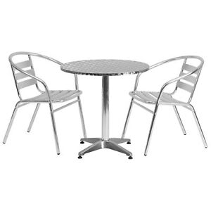 27 5 Round Aluminum Indoor outdoor Table With 2 Slat Back Chairs