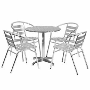 27 5 Round Aluminum Indoor outdoor Table With 4 Slat Back Chairs
