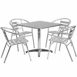 31 5 Square Aluminum Indoor outdoor Table With 4 Slat Back Chairs