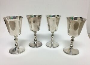 Set Of Four English Sterling Silver Wine Goblets Chalices
