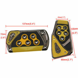 Yellow Universal Non Slip Automatic Car Gas Brake Pedal Pads Cover Replacement