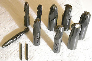 Lot 11 Used Solid Carbide Ball Nose End Mills Diameters From 5 32 To 1 Nice