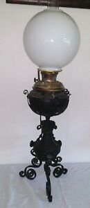 Gorgeous Bradley And Hubbard Wrought Iron Electrified Banquet Parlor Lamp