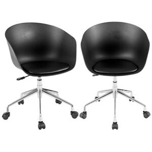 2pcspu Leather Pp Swivel Height Rolling Armless Adjustable Office Chairs Us