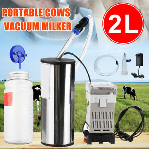 Usa 2l Electric Milking Machine Cow Milker Portable Vacuum Pump Bucket Tank