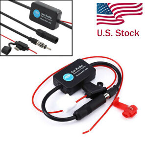 12v Auto Car Antenna Radio Fm Signal Amplifier Booster Strengthen Ant 208 25db