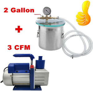2 Gallon Stainless Steel Vacuum Chamber 3 0 Cfm Vacuum Pump My