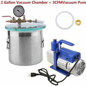 2 Gallon Vacuum Chamber 3 Cfm Single Stage Pump Kit For Degassing Silicones Ur