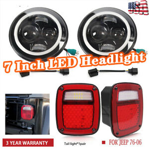 7 Turn Signal Led Headlight Rear Brake Tail Turn Light For 76 06 Jeep Cj Tj Jk