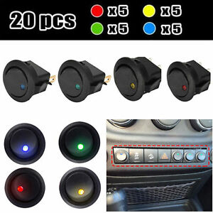 20x Led Dot Car Boat Auto Round Rocker On Off Toggle Spst Switch 12v Waterproof