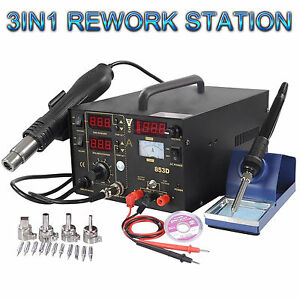 853d 3in1 Soldering Rework Station Smd Solder Iron Hot Air Gun Dc Power Supply