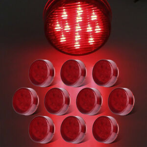 10x2 5 Round Red13led Side Marker Light Clearence Led Trailer Truck Rv Boat Van