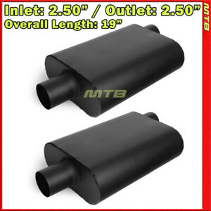 High Flow Two Chamber Muffler 2 5 In Offset In Center Out Black Pair 212425