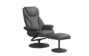 Office Swivel Chair With Footstool Faux Leather Reclining Executive Chair Grey