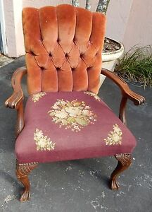 Vintage Antique Victorian Chair Seat Needlepoint Tapestry Velour Carved Wood
