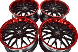 18 Red Lip Wheels Rims Eclipse Sonata Xb Optima Camry Avalon Accord Rav4 5x114 3