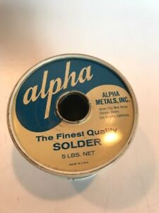 Vintage Alpha Metals Rosin Core Solder 5 Pd Spool Used Over 2 Pds Left Usa Made