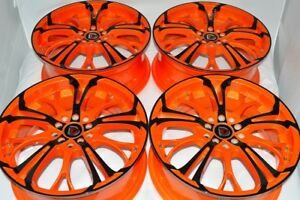 17 Orange Black Wheels Solara Beetle Jetta Forte Prius V Soul Rims 5x100 5x114 3