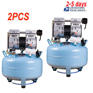 2x Medical Noiseless Oil Free Oilless Silent Air Compressor 30l F Dental Chair