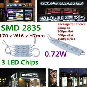 Smd 2835 Waterproof Led Modules 3 Led Chips 0 72w For Channel Letter Signs