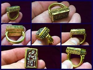 Rare Large Roman Gold 1st 2nd Cent Ad Gold Man Working Intaglio Carnelian Ring