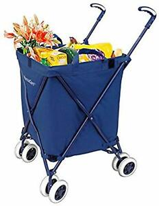 Grocery Shopping Cart With Wheels Folding Water Resistant Heavy Duty Openbox