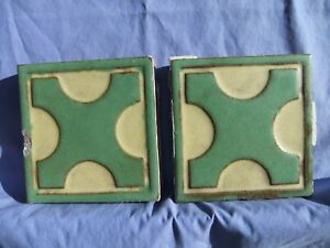 Pair Of 2 Grueby Faience 6 6 Green X W Cream Glazed Architectural Tiles