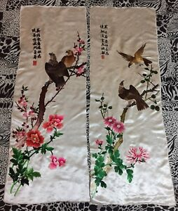 2 Antique Chinese Hand Embroidery Panel Wall Hanging Tapestry 14 By 41