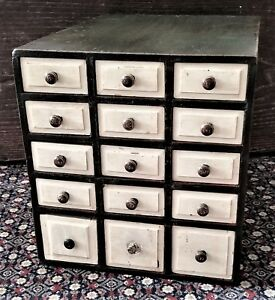 Small 15 Drawer Chest Apothecary Spice Storage Beveled Drawers Green 14 T