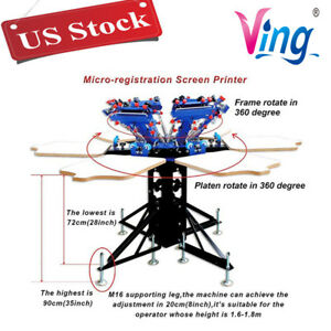 Usa 6 Color 6 Station Screen Print T shirt Press Micro adjust Rotatable Machine