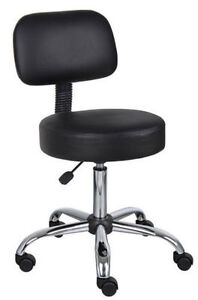 New Black Doctor Dental Medical Exam Stool Office Chair With Backrest