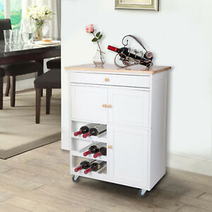 Rolling Wood Kitchen Island Trolley Serving Cart Storage Cabinet Wine Rack