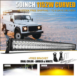 Curved 50inch Led Light Bar 1152w Truck 4wd White Amber Stroboflash Driving Lamp
