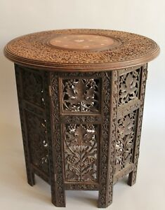 Antique Inlaid And Carved Indian Hardwood Table