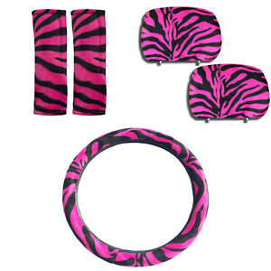 5pc Combo Hot Pink Zebra Print Shoulder Pads W Headrest Steering Wheel Cover